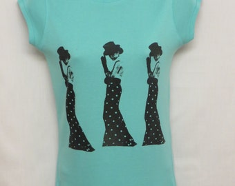 Women's Quintessential Mint Green; Handprinted; Screen Printed Tee; Size 8