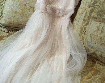 JDL Vintage Style European Imported Lagenlook French Tulle Dress size 6/8 Beige, or Pale Rose