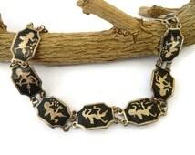 Vintage Siam Bracelet, Dancing Goddess 1960s Sterling Silver Niello Bracelet, Thailand Silver Link Bracelet, Siam Sterling Jewelry