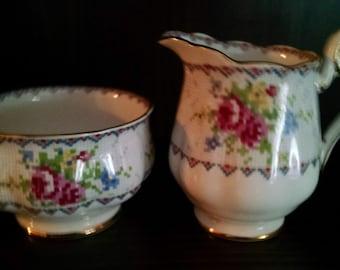 royal albert petit point sugar bowl and creamer