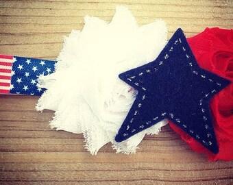 God Bless The USA Girls Hair Clip or Headband