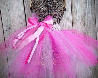 Custom Girls Tulle TuTu With Tulle and Ribbon Bow Choose Your Colors