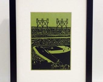 "Baseball Game handmade linocut print 5x7"" - unframed (moss green).  baseball fan gift, sports art, baseball art, wall art, printmaking"