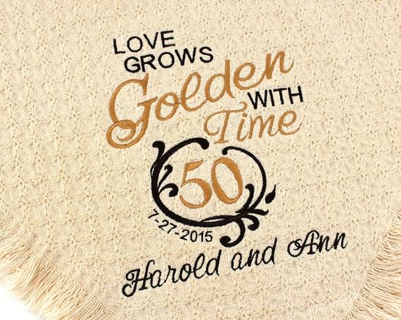 Unusual Golden Wedding Anniversary Gift Ideas: Personalized 50th Golden Wedding Anniversary Embroidered