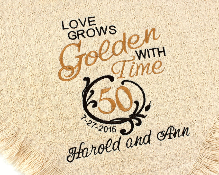 Personalized th golden wedding anniversary embroidered