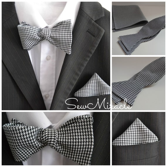 Houndstooth self-tie bow, Men's self-tie bow, black and white, made to order, matching pocket square, handmade accessory