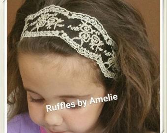 Girls Vintage Lace Headband, Girls Boho Ivory Lace Headband. Baby Girls Ivory Lace Crown.