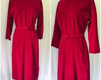 Vintage 1940s Red Dress // vintage Red Velvet 40s Dress