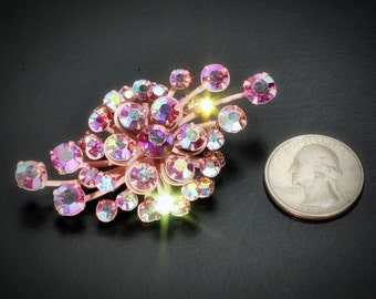 Vintage Estate Aurora Borlealis Pink Crystal Pin Back Brooch, 2.5 inch wide x 1.5 inches tall