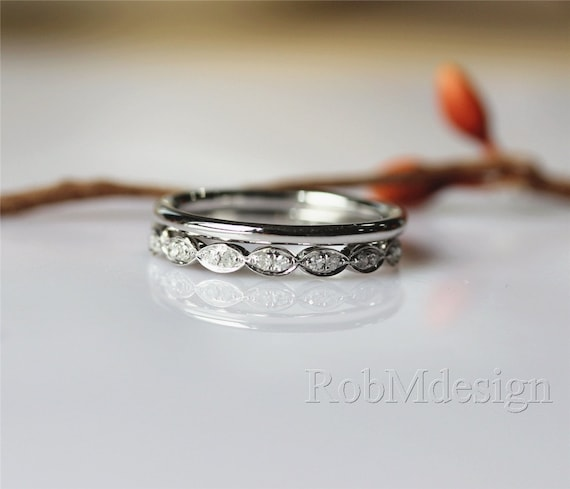 Elegant Simple 2PCS 14K White Gold Wedding Ring Set by RobMdesign
