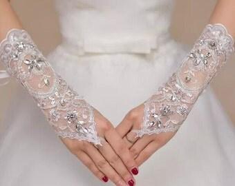 White Tulle gloves fingerless gloves Rhinestone gloves wedding gloves  lace flower gloves grace gloves bridal gloves in handmade
