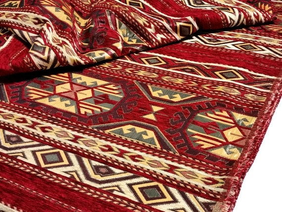 Ethnic Tribal Style Chenille Upholstery Fabric Kilim