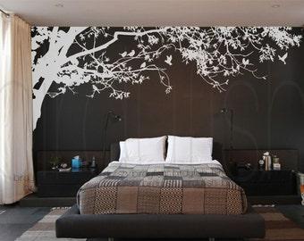 Wall Decals Nursery wall decals sticker-Corner top tree branch-leafy tree branch decals wall decor with birds decal