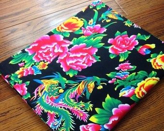chinese  fabric cotton black peony 1m