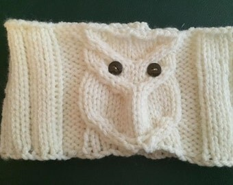 Adult Owl Scarf Knitting Pattern by GinasiKnitShop on Etsy