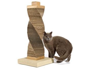 Original CARDBOARD Cat Scratcher | recycled cardboard, oak & stone structure | by Charley and Billie