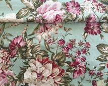 Home Decor Aqua Turquoise Raspberry Floral Berries Large Print Fabric