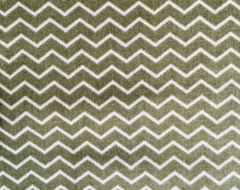 Half Moon Modern Small Zig Zag Green and Cream Mini Chevron Fabric Cotton