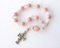 Mini Rosary Handmade Unbreakable Wire Wrapped Catholic Rosary Beads Tenner - Baptism Christening Communion Favors - Catholic Gift