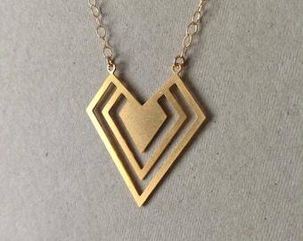 Gold Geometric Diamond Triangular Necklace