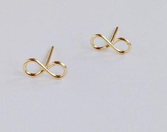 Infinity Stud earrings, tiny stud earrings, gold post earrings, small gold stud earring,weddings, bridesmaid gift, bestfriend