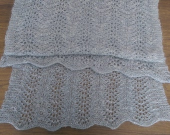 Rectangular knitted mohair lace shawl