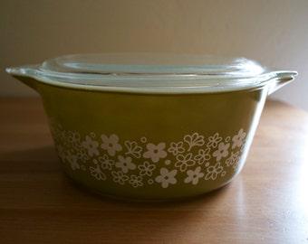 Vintage Pyrex Spring Blossom Casserole Dish with Lid 2.5 Quart #475