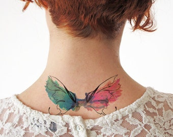 Watercolor wings - Temporary tattoo