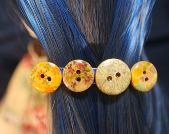 resin coated wooden buttons hair barrette.