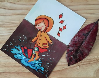 A Girl in Autumn Illustration Postcard