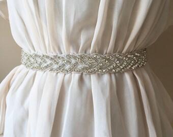 THE DANI Silver Rhinestone Crystal Infinity Bridal Belt - Bridesmaid Gift - Bridesmaid Belt - Wedding dress belt - Maternity Sash
