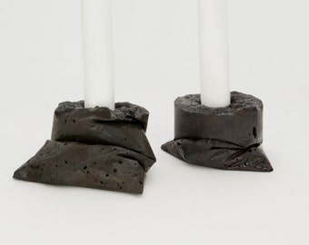 LJ LAMPS kappa black - candle holders made of concrete