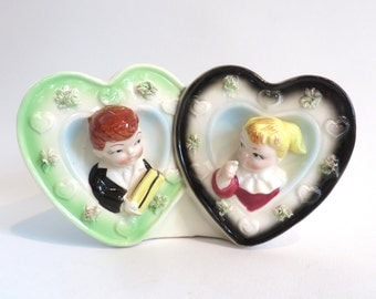 Vintage Relpo Sweethearts Planter, Fifties Ceramic Valentines Day Gift, Wedding Present, Bridal Shower Gift
