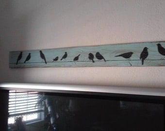 Bird art, whimsical, wall decor, family, birds on a wire, reclaimed wood, handmade wood signs