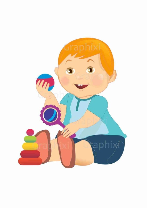 Baby Boy Toys Clip Art : Clipart toddler baby boy commercial use kids vector