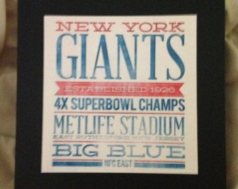 "New York Giants Subway Plaque 8"" X 8"""