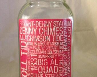 """Alabama Quart Size """"Subway Print"""" Mason Jar"""