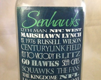"Seattle Seahawks Quart Size ""Subway Print"" Mason Jar"