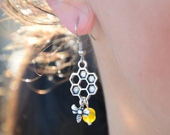 Honeycomb Earrings, Summer Hexagon Earrings, Silver Honeycomb Earrings, gift idea, beehive earrings,  honey bee earrings