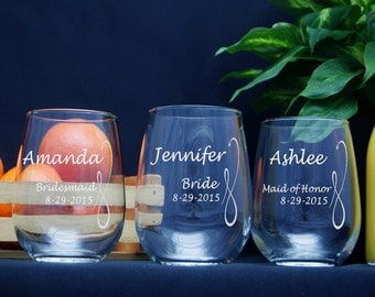 Stemless Wine Glasses / Personalized Bridesmaids Gifts / Engraved Wedding Glasses / 16 Designs! / Select ANY QUANTITY