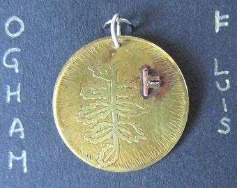 Celtic Ogham Pendant - Luis (Rowan). Rowan leaf pendant. Celtic charm. Druid necklace. Pagan pendant. nature necklace. Celtic art. Amulet