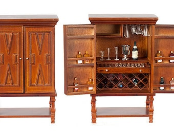 1:12 Scale Miniature Bar Cabinet with Accessories