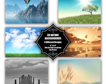 INSTANT DOWNLOAD - Collection of digital 3D nature backgrounds with 6 different designs