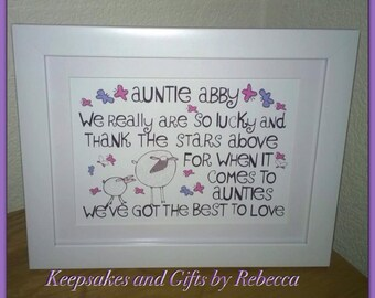 Personalised Auntie framed print - auntie gift - life quote - auntie birthday - someone special - personalised gift -