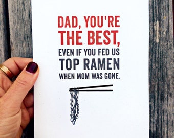 Father's Day Card or Dad Birthday Card; You're the Best