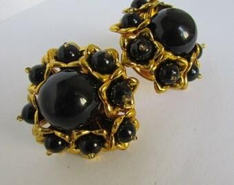 Vintage earring - Black flower stud earrings- 90s Jewelry