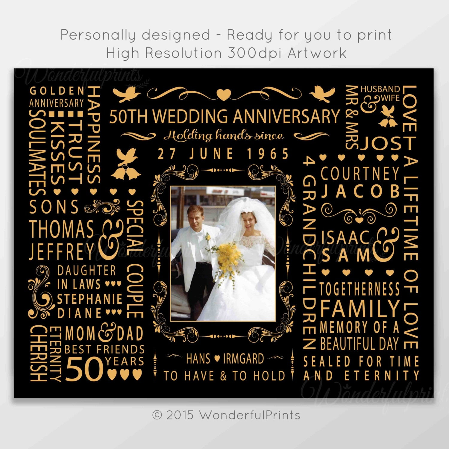 50th Wedding Anniversary Gift for Mom and Dad by WonderfulPrints