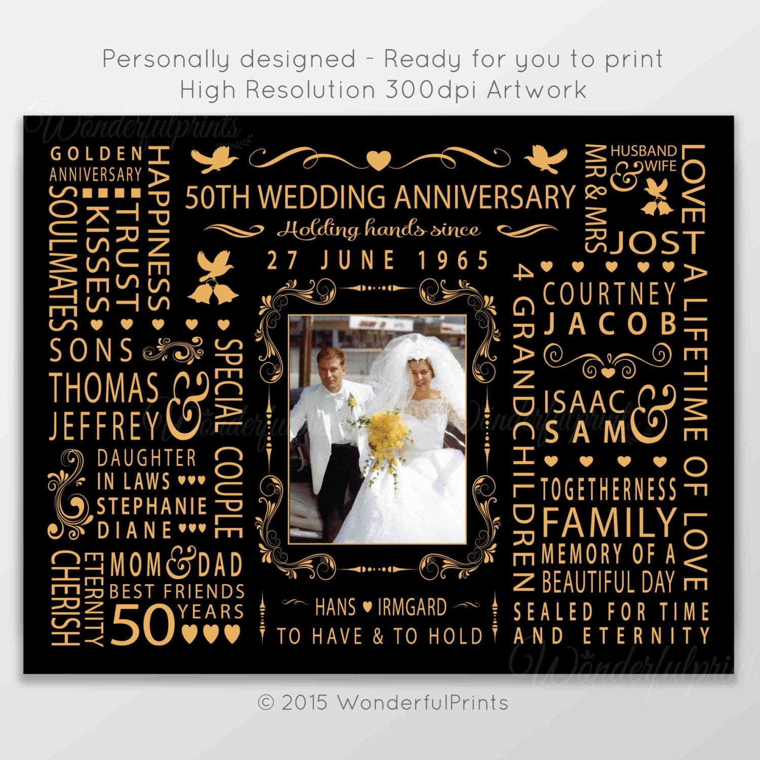 Wedding Gift For Mom And Dad : 50th Wedding Anniversary Gift for Mom and Dad by WonderfulPrints
