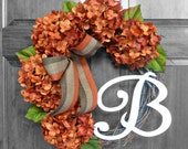 Fall Wreath - Thanksgiving Decor - Hydrangea Wreath - Fall Door Wreath - Front Door Wreath - Hydrangea Monogram Wreath
