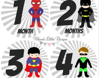 Monthly Stickers Boy, Milestone Stickers, Month Stickers, Baby Month Stickers, Baby Stickers, Superheroes #130